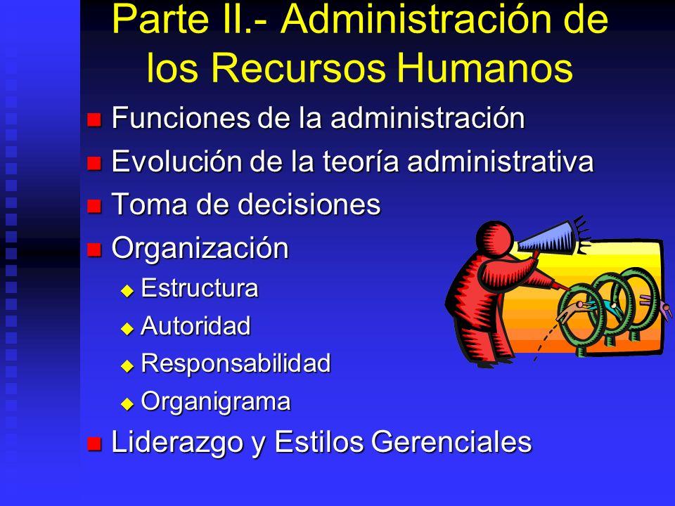Parte II.- Administración de los Recursos Humanos
