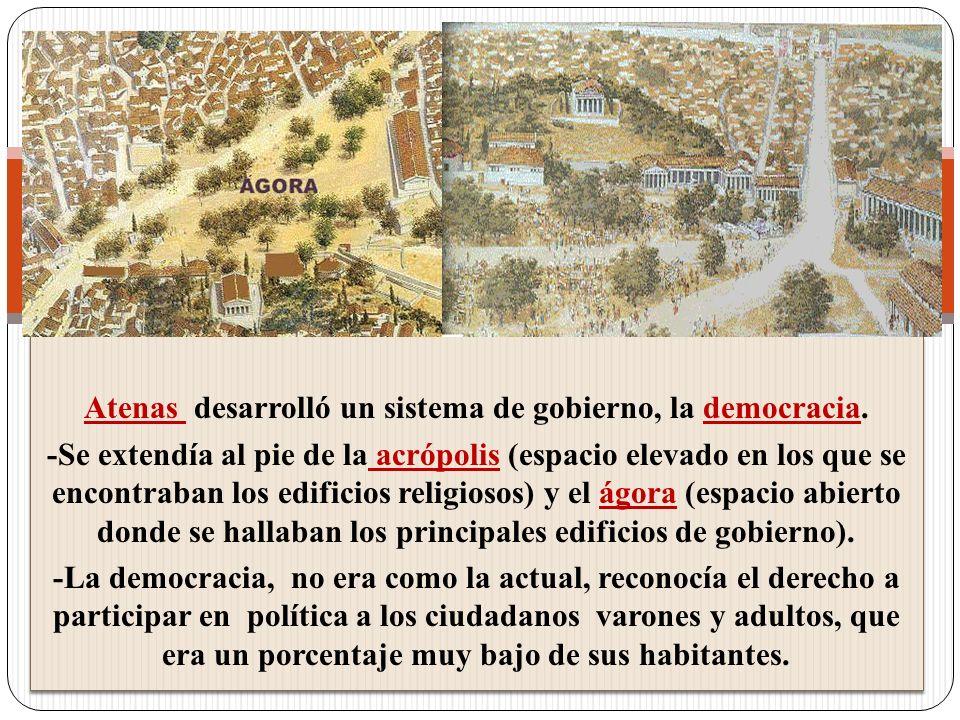 Atenas desarrolló un sistema de gobierno, la democracia.