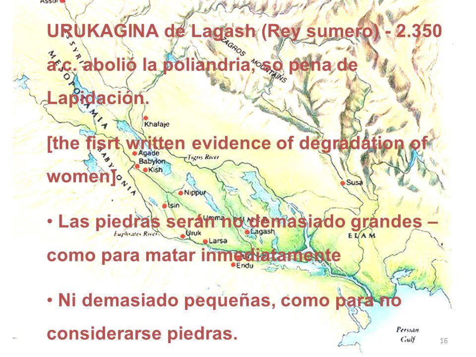 URUKAGINA de Lagash (Rey sumero) - 2. 350 a. c