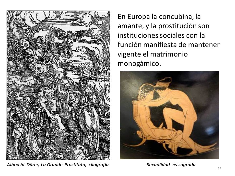 En Europa la concubina, la amante, y la prostitución son instituciones sociales con la función manifiesta de mantener vigente el matrimonio monogàmico.