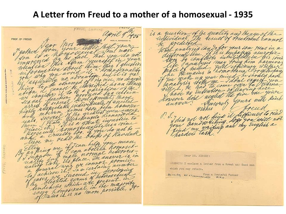 A Letter from Freud to a mother of a homosexual - 1935