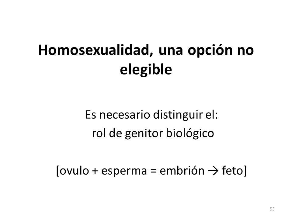 Homosexualidad, una opción no elegible