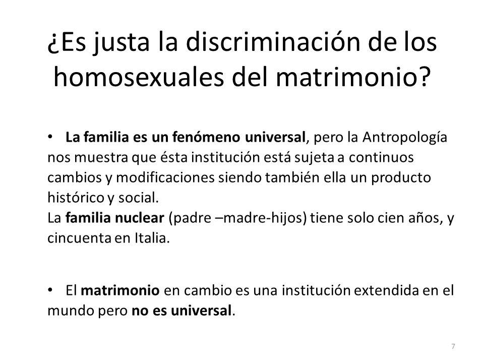 ¿Es justa la discriminación de los homosexuales del matrimonio
