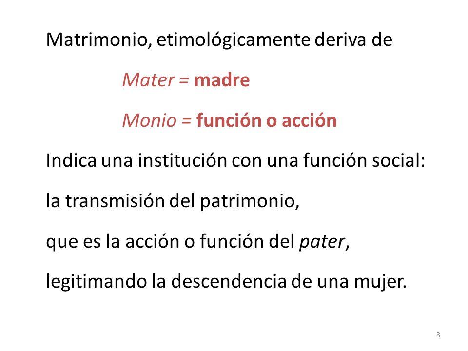 Matrimonio, etimológicamente deriva de Mater = madre Monio = función o acción Indica una institución con una función social: la transmisión del patrimonio, que es la acción o función del pater, legitimando la descendencia de una mujer.