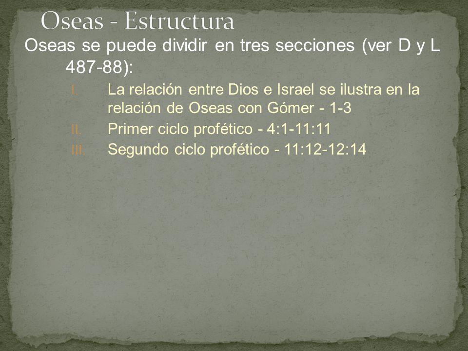 Oseas - Estructura Oseas se puede dividir en tres secciones (ver D y L 487-88):