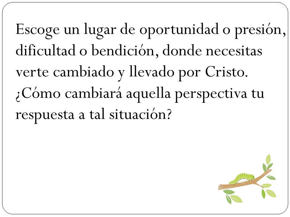 Escoge un lugar de oportunidad o presión, dificultad o bendición, donde necesitas verte cambiado y llevado por Cristo.
