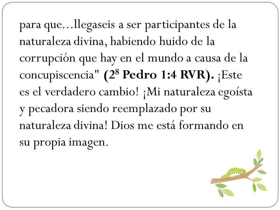 para que...llegaseis a ser participantes de la naturaleza divina, habiendo huido de la corrupción que hay en el mundo a causa de la concupiscencia (28 Pedro 1:4 RVR).