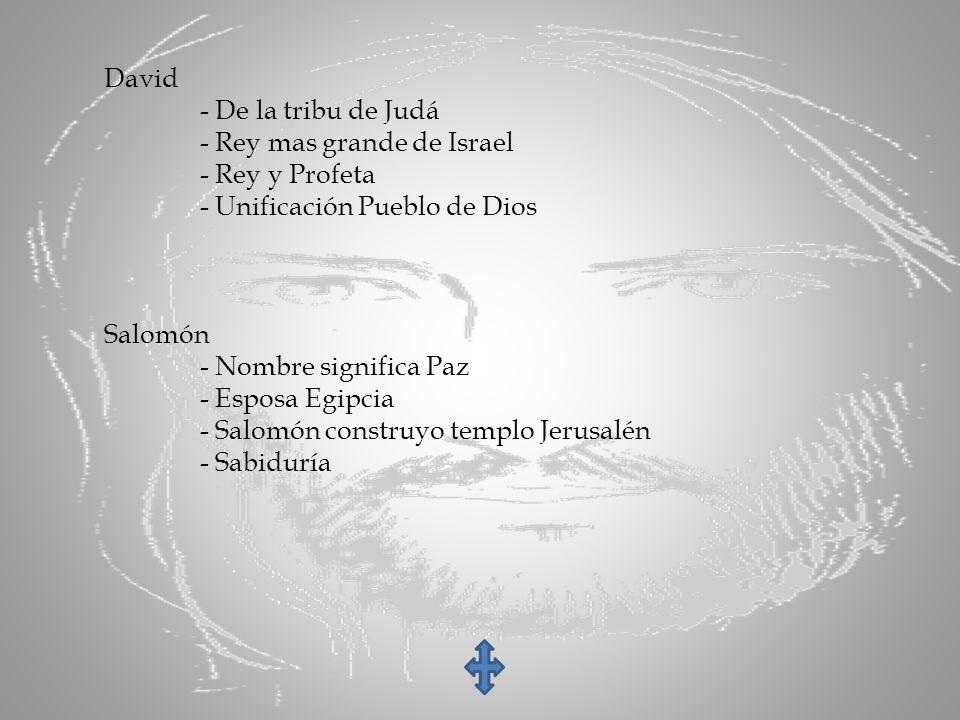 David - De la tribu de Judá. - Rey mas grande de Israel. - Rey y Profeta. - Unificación Pueblo de Dios.