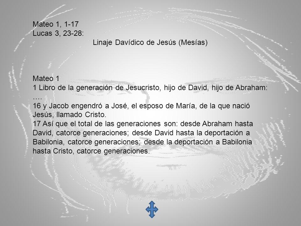 Mateo 1, 1-17 Lucas 3, 23-28: Linaje Davídico de Jesús (Mesías) Mateo 1. 1 Libro de la generación de Jesucristo, hijo de David, hijo de Abraham:
