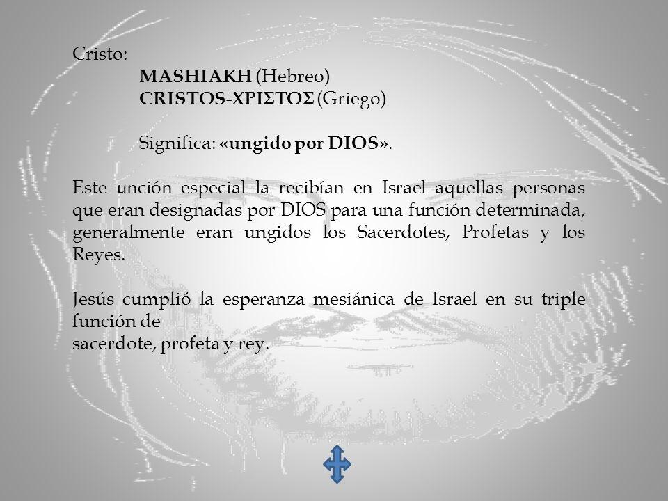 Cristo: MASHIAKH (Hebreo) CRISTOS-ΧΡΙΣΤΟΣ (Griego) Significa: «ungido por DIOS».