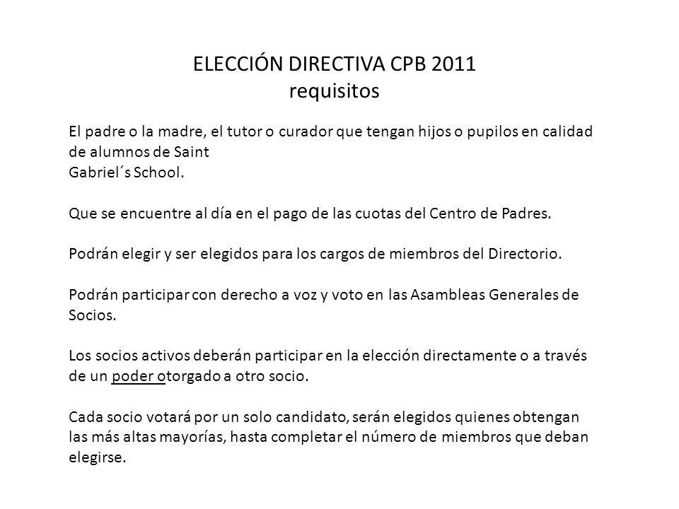 ELECCIÓN DIRECTIVA CPB 2011