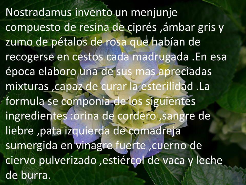 Nostradamus invento un menjunje compuesto de resina de ciprés ,ámbar gris y zumo de pétalos de rosa que habían de recogerse en cestos cada madrugada .En esa época elaboro una de sus mas apreciadas mixturas ,capaz de curar la esterilidad .La formula se componía de los siguientes ingredientes :orina de cordero ,sangre de liebre ,pata izquierda de comadreja sumergida en vinagre fuerte ,cuerno de ciervo pulverizado ,estiércol de vaca y leche de burra.