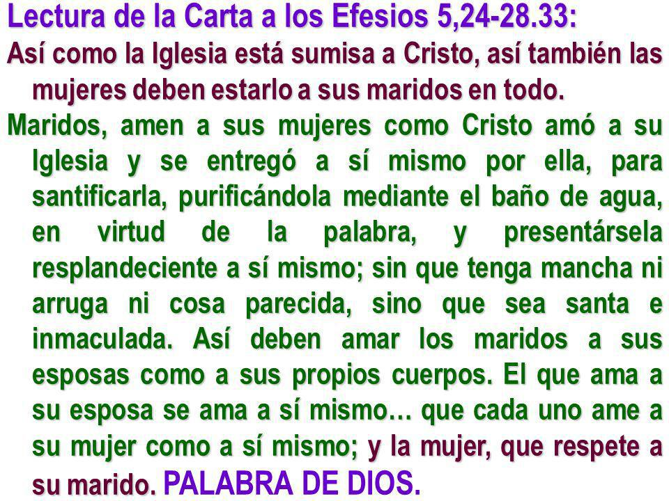 Lectura de la Carta a los Efesios 5,24-28.33: