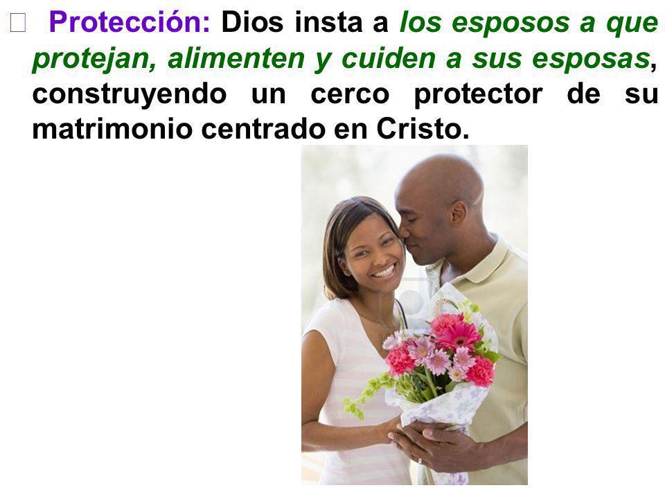  Protección: Dios insta a los esposos a que protejan, alimenten y cuiden a sus esposas, construyendo un cerco protector de su matrimonio centrado en Cristo.