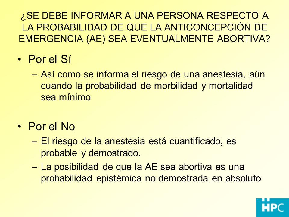 ¿SE DEBE INFORMAR A UNA PERSONA RESPECTO A LA PROBABILIDAD DE QUE LA ANTICONCEPCIÓN DE EMERGENCIA (AE) SEA EVENTUALMENTE ABORTIVA