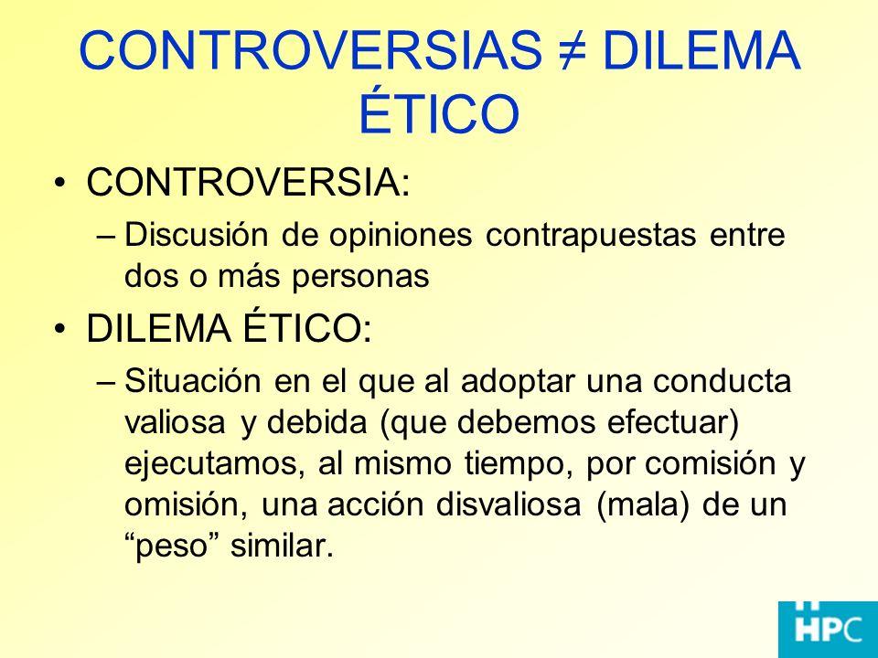 CONTROVERSIAS ≠ DILEMA ÉTICO