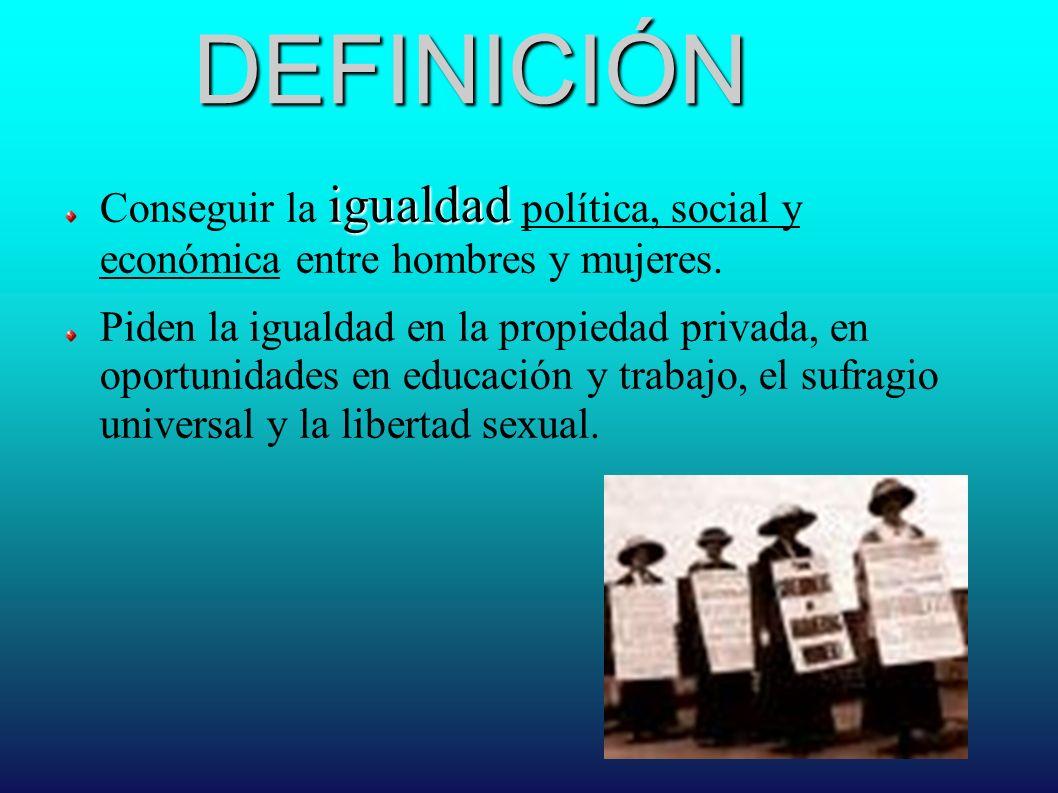 DEFINICIÓN Conseguir la igualdad política, social y económica entre hombres y mujeres.