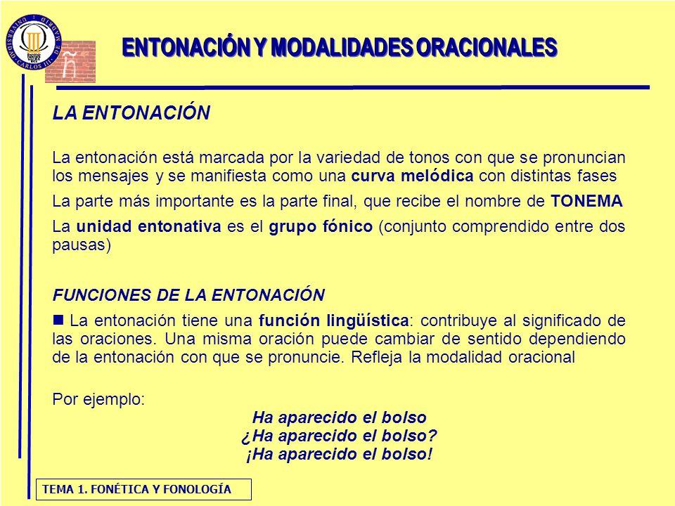 ENTONACIÓN Y MODALIDADES ORACIONALES