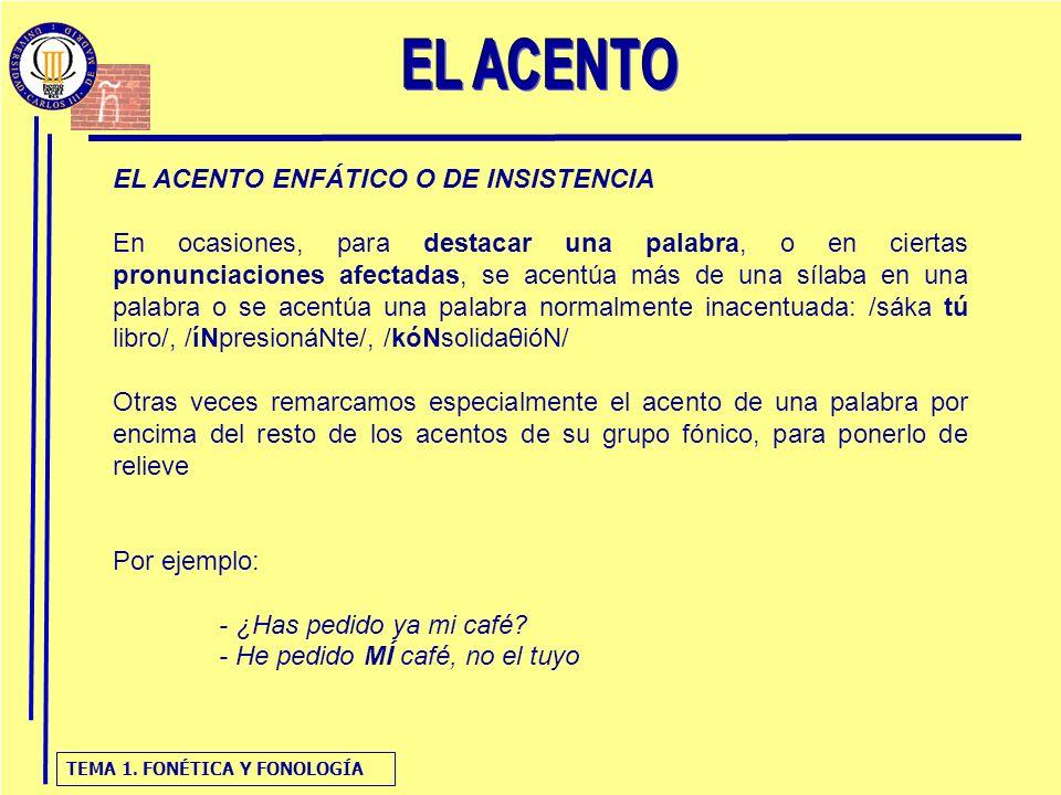 EL ACENTO EL ACENTO ENFÁTICO O DE INSISTENCIA