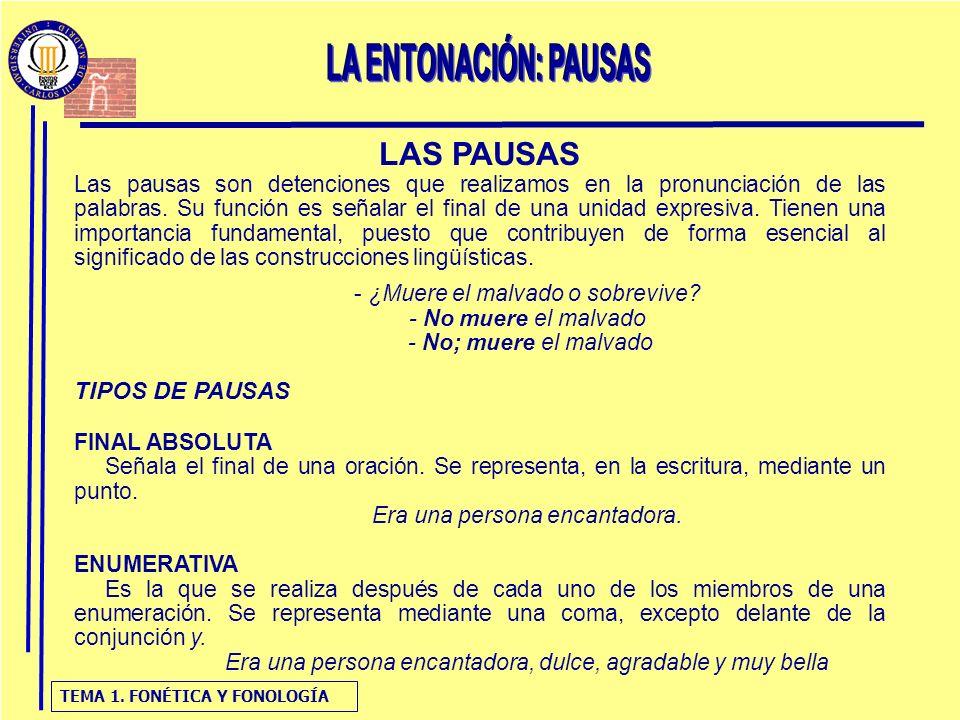 LAS PAUSAS LA ENTONACIÓN: PAUSAS TIPOS DE PAUSAS