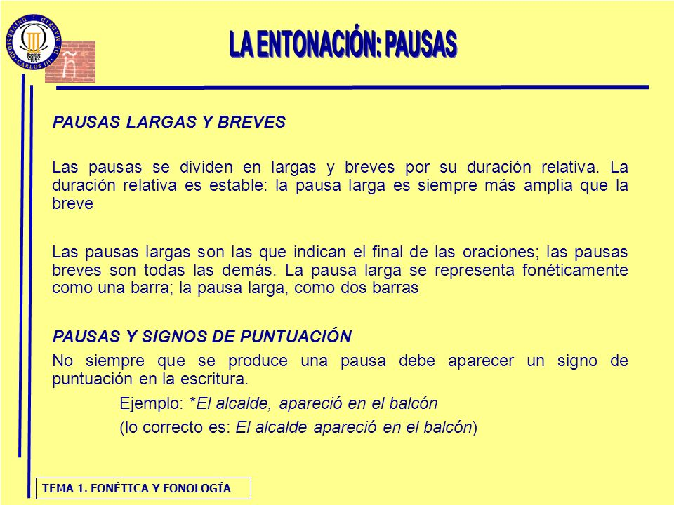 LA ENTONACIÓN: PAUSAS PAUSAS LARGAS Y BREVES