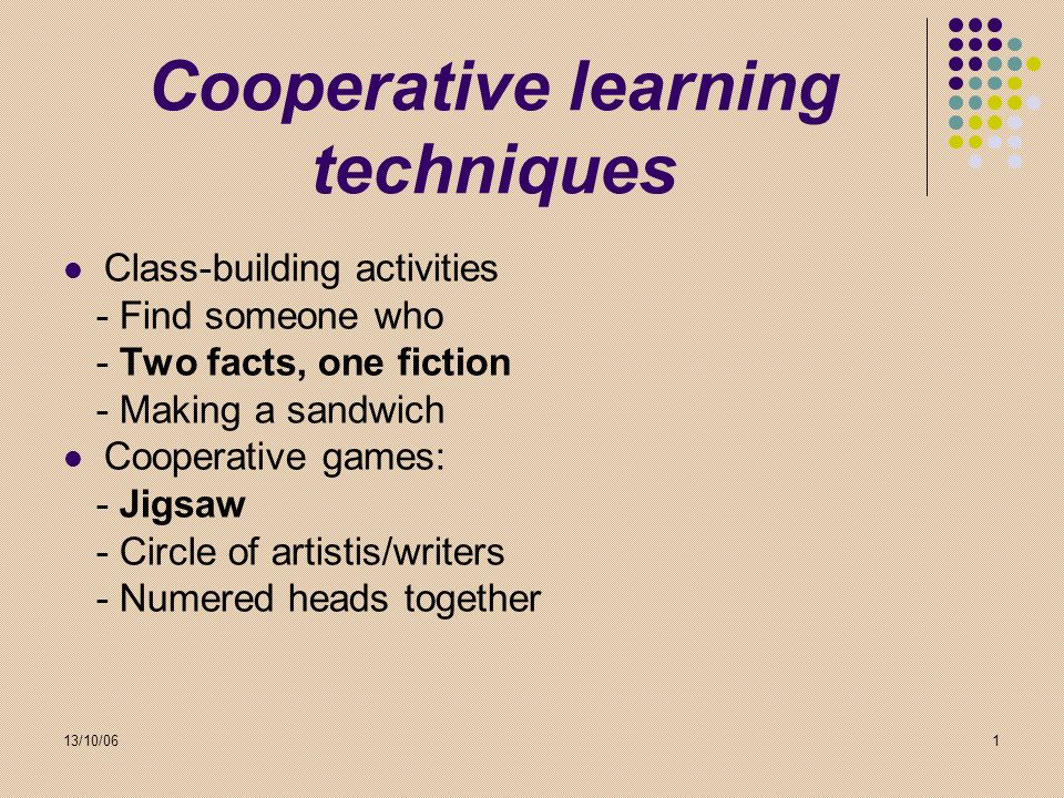 Cooperative learning techniques