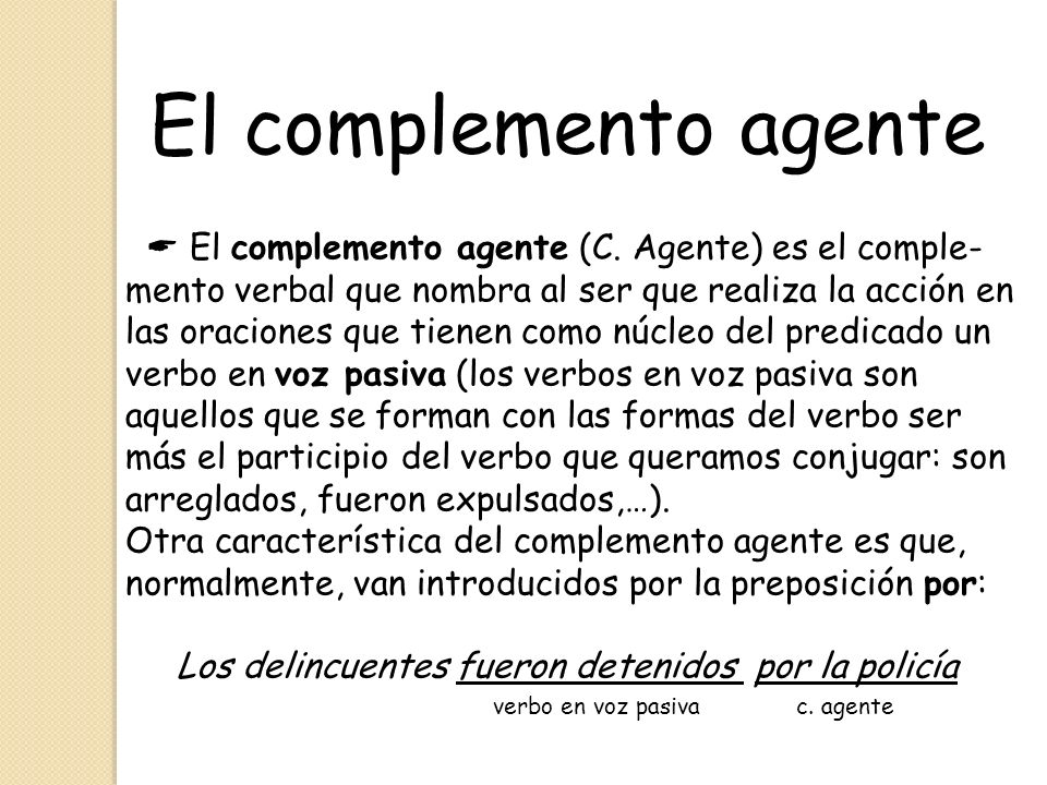El complemento agente