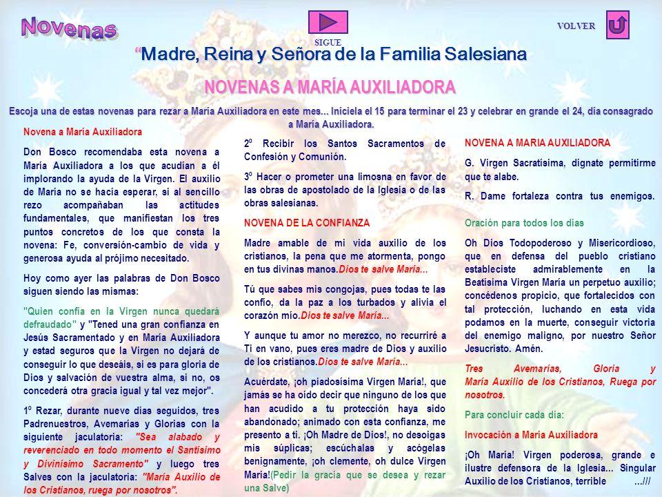 Novenas Madre, Reina y Señora de la Familia Salesiana