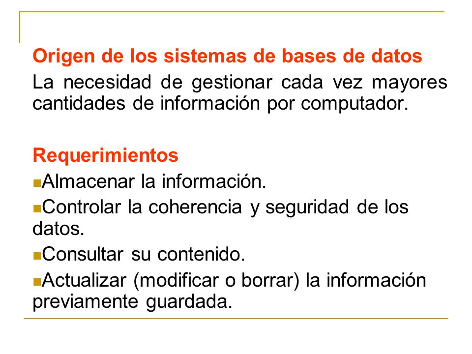 Origen de los sistemas de bases de datos