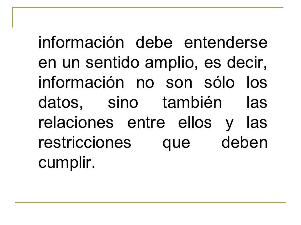 información debe entenderse en un sentido amplio, es decir, información no son sólo los datos, sino también las relaciones entre ellos y las restricciones que deben cumplir.