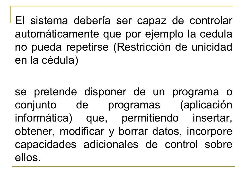 El sistema debería ser capaz de controlar automáticamente que por ejemplo la cedula no pueda repetirse (Restricción de unicidad en la cédula)