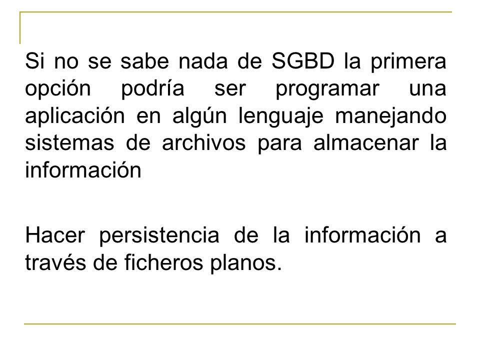 Si no se sabe nada de SGBD la primera opción podría ser programar una aplicación en algún lenguaje manejando sistemas de archivos para almacenar la información
