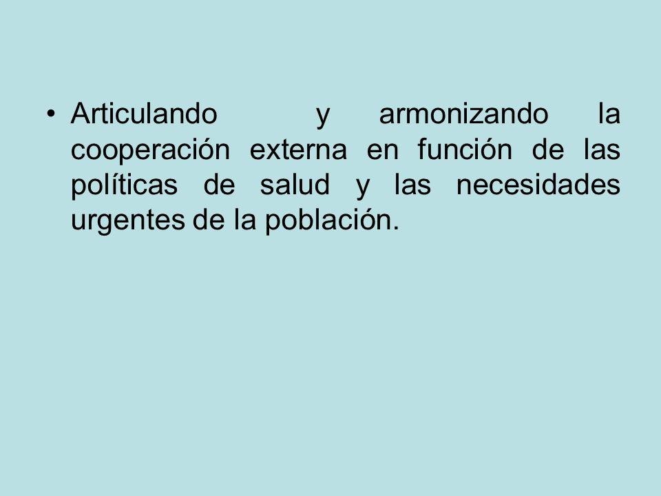 Articulando y armonizando la cooperación externa en función de las políticas de salud y las necesidades urgentes de la población.