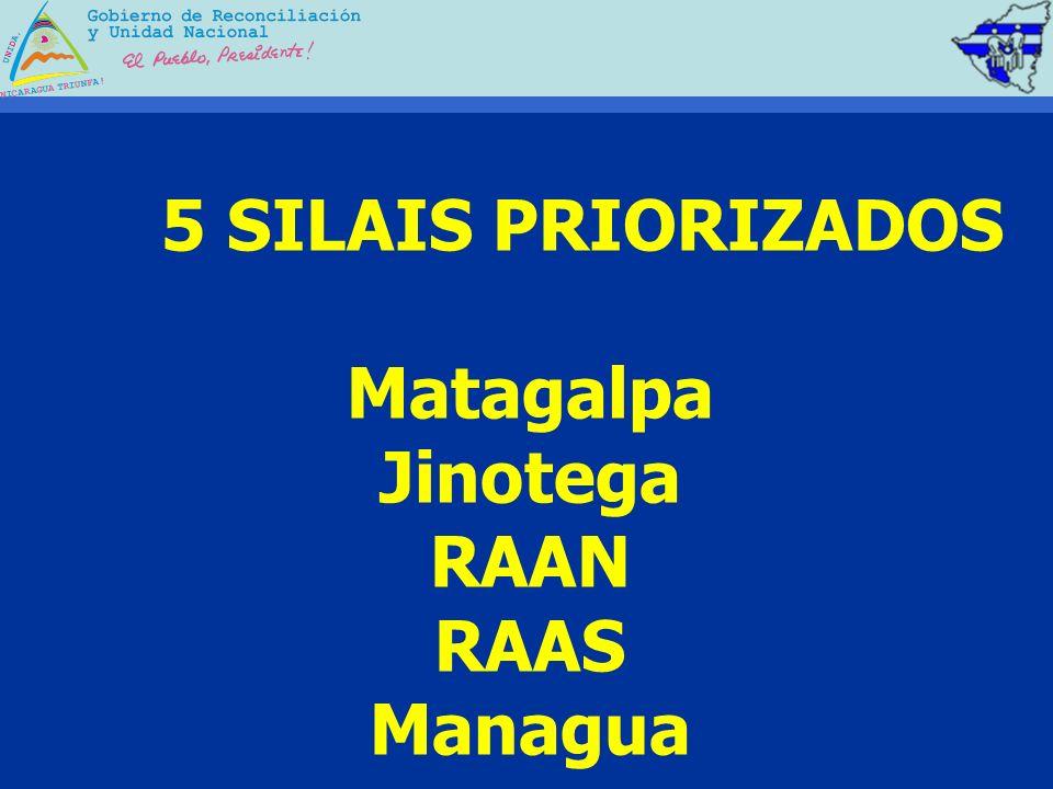 5 SILAIS PRIORIZADOS Matagalpa Jinotega RAAN RAAS Managua