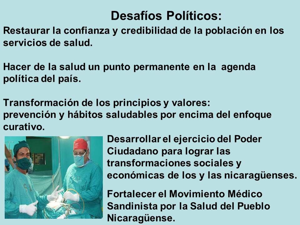 Desafíos Políticos: Restaurar la confianza y credibilidad de la población en los. servicios de salud.