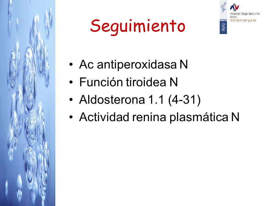Seguimiento Ac antiperoxidasa N Función tiroidea N