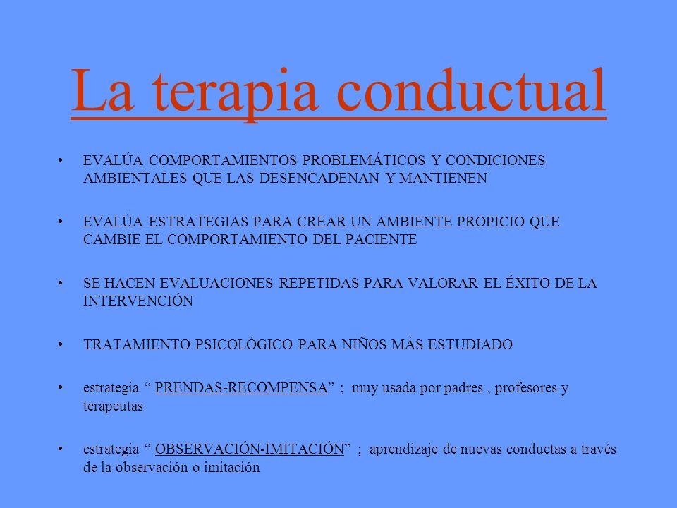 La terapia conductual EVALÚA COMPORTAMIENTOS PROBLEMÁTICOS Y CONDICIONES AMBIENTALES QUE LAS DESENCADENAN Y MANTIENEN.