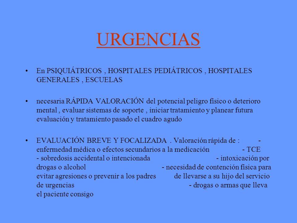 URGENCIAS En PSIQUIÁTRICOS , HOSPITALES PEDIÁTRICOS , HOSPITALES GENERALES , ESCUELAS.