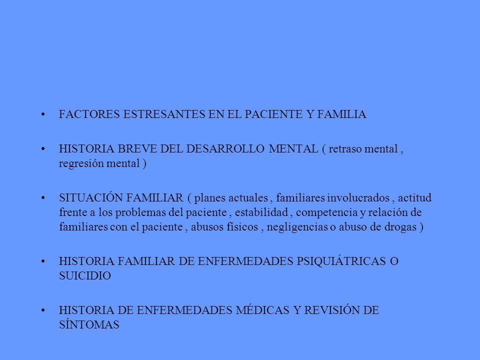 FACTORES ESTRESANTES EN EL PACIENTE Y FAMILIA