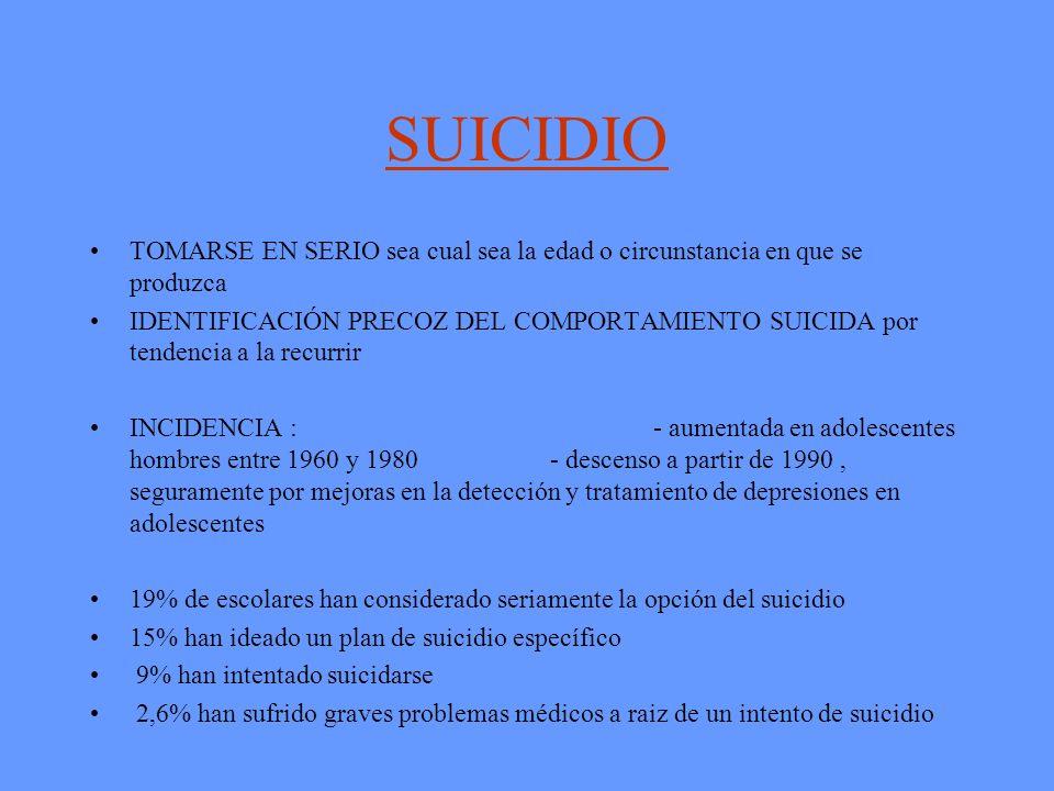 SUICIDIO TOMARSE EN SERIO sea cual sea la edad o circunstancia en que se produzca.