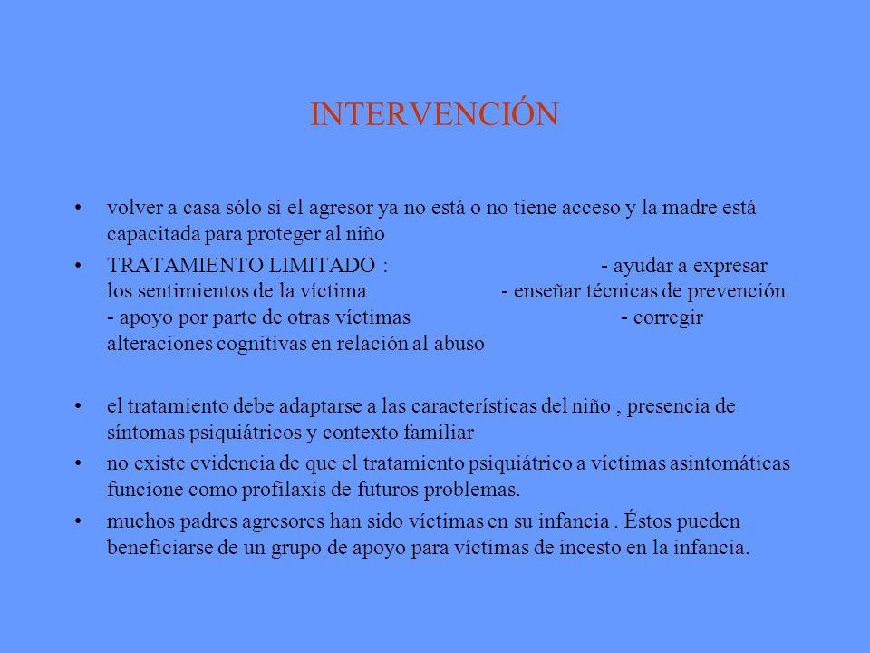 INTERVENCIÓN volver a casa sólo si el agresor ya no está o no tiene acceso y la madre está capacitada para proteger al niño.