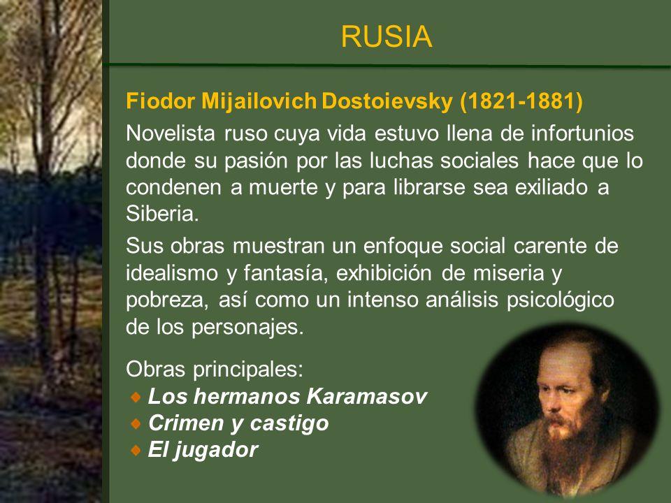 RUSIA Fiodor Mijailovich Dostoievsky (1821-1881)