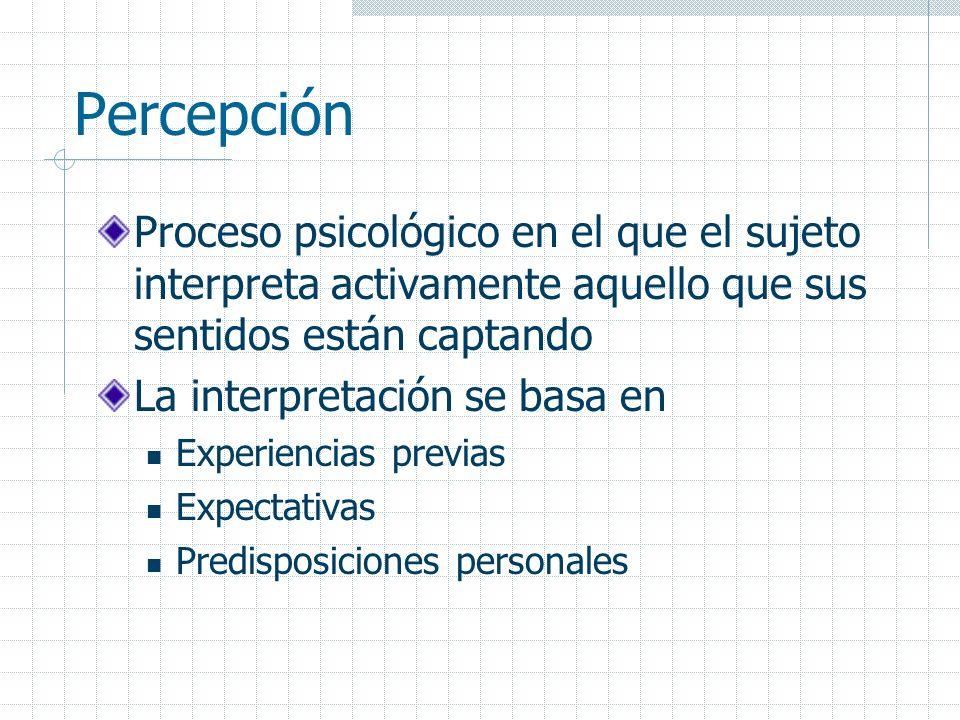 Percepción Proceso psicológico en el que el sujeto interpreta activamente aquello que sus sentidos están captando.