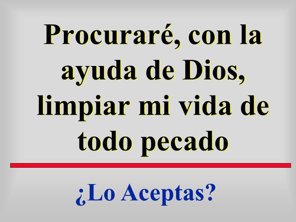 Procuraré, con la ayuda de Dios, limpiar mi vida de todo pecado
