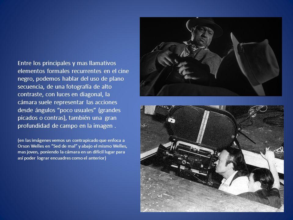 Entre los principales y mas llamativos elementos formales recurrentes en el cine negro, podemos hablar del uso de plano secuencia, de una fotografía de alto contraste, con luces en diagonal, la cámara suele representar las acciones desde ángulos poco usuales (grandes picados o contras), también una gran profundidad de campo en la imagen .