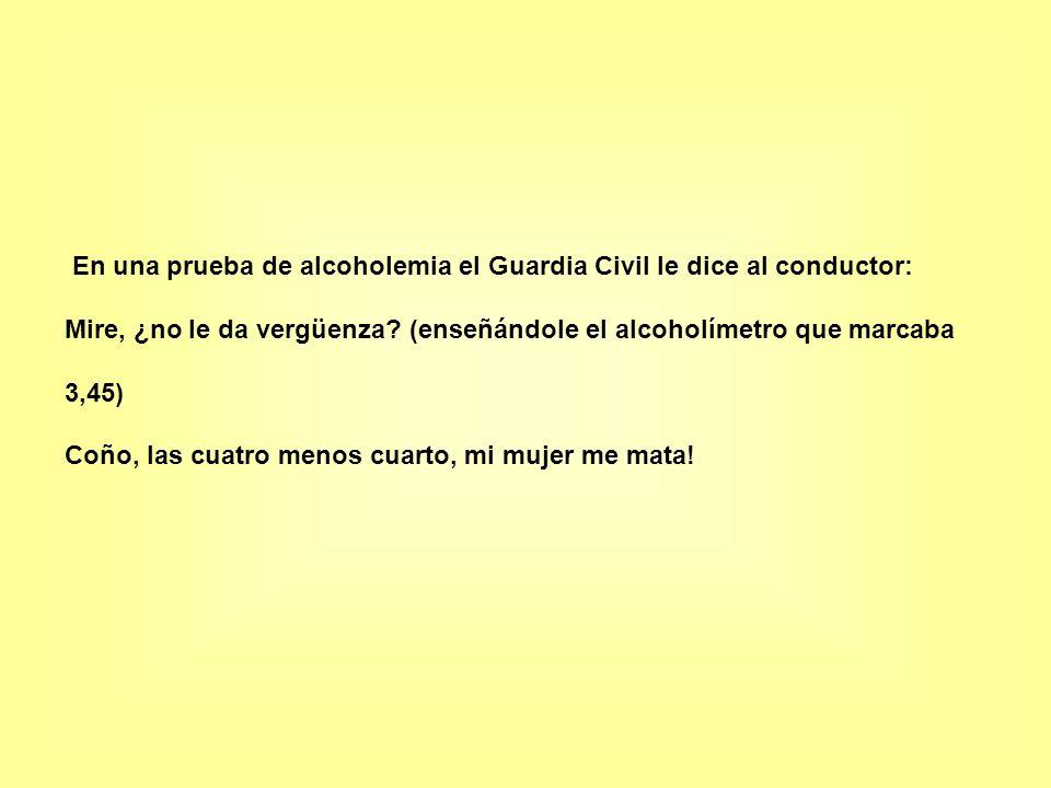 En una prueba de alcoholemia el Guardia Civil le dice al conductor: