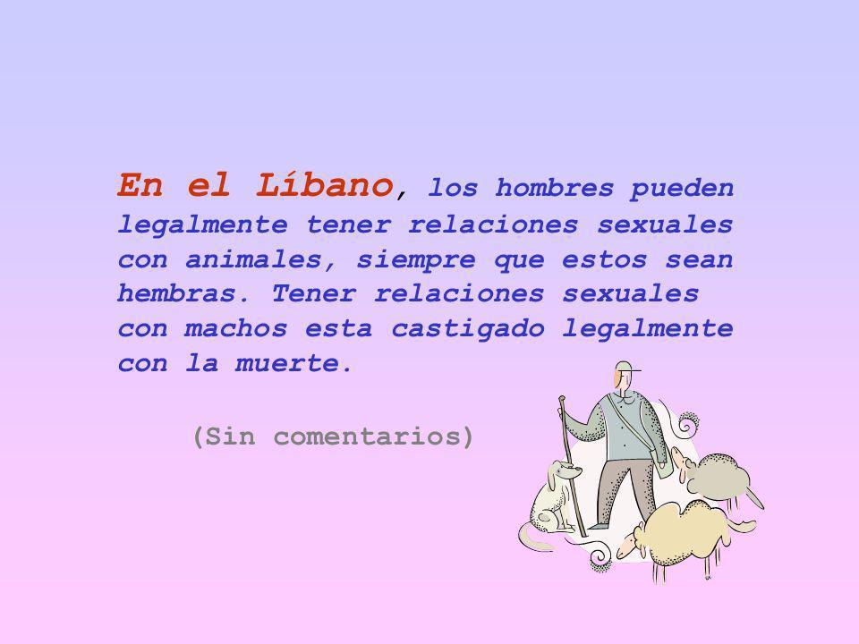 En el Líbano, los hombres pueden legalmente tener relaciones sexuales con animales, siempre que estos sean hembras. Tener relaciones sexuales con machos esta castigado legalmente con la muerte.