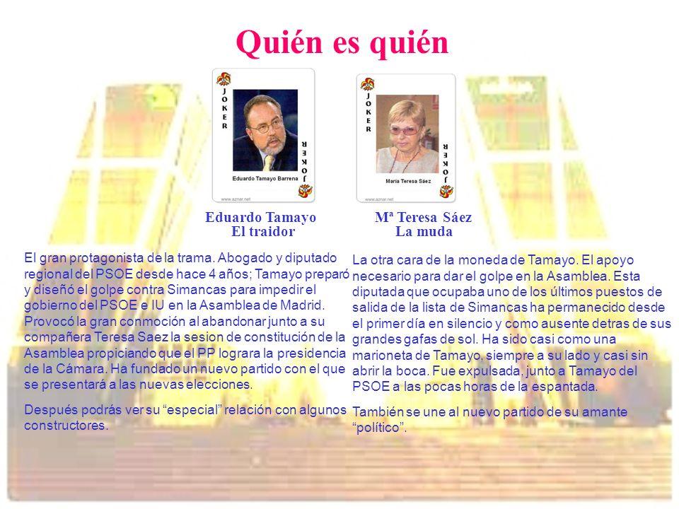 Quién es quién Eduardo Tamayo Mª Teresa Sáez El traidor La muda
