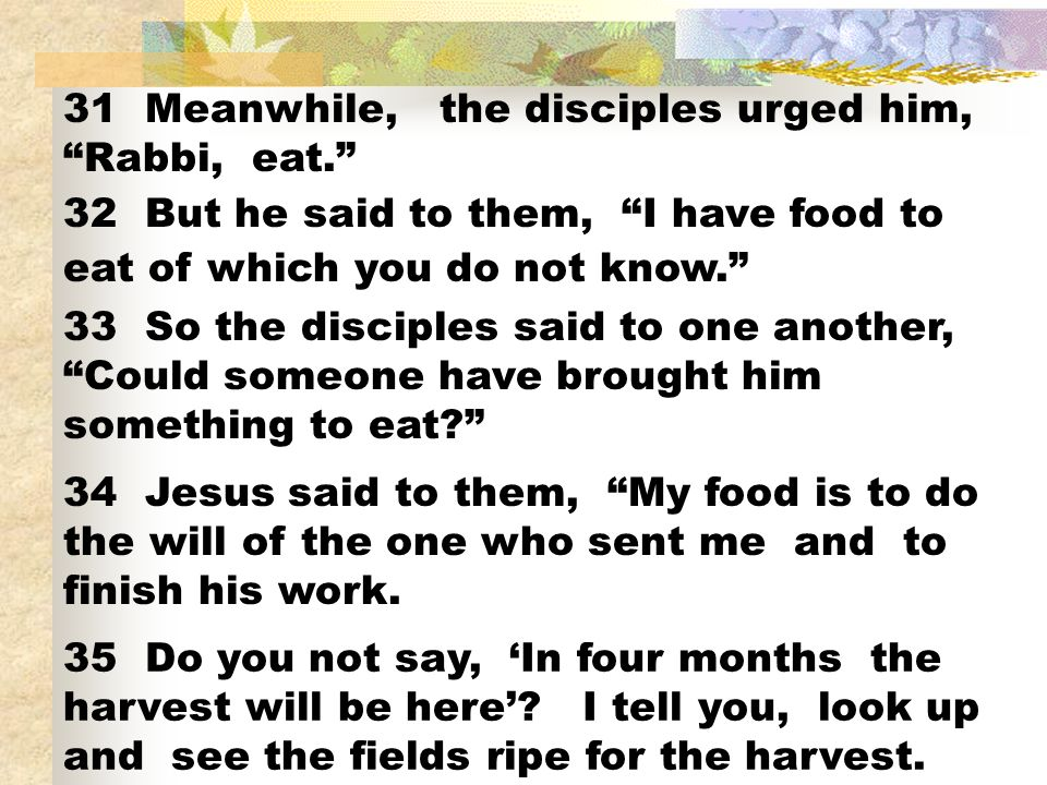 31 Meanwhile, the disciples urged him, Rabbi, eat.