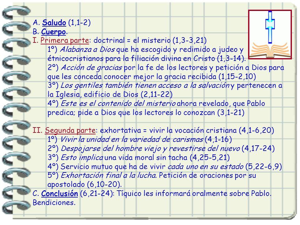 A. Saludo (1,1-2) B. Cuerpo. I. Primera parte: doctrinal = el misterio (1,3-3,21)